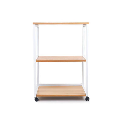 Portable Mobile Printer Stand 3-Tier Storage Shelf Rack Wooden Trolley | 360HomeWare