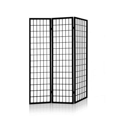 Artiss 3 Panel Wooden Room Divider - Black | 360HomeWare