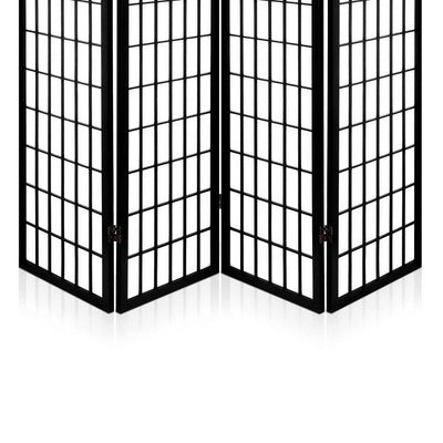 Artiss 4 Panel Wooden Room Divider - Black | 360HomeWare