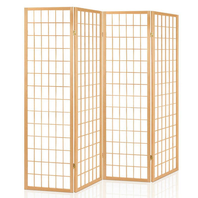 Artiss 4 Panel Wooden Room Divider - Natural | 360HomeWare