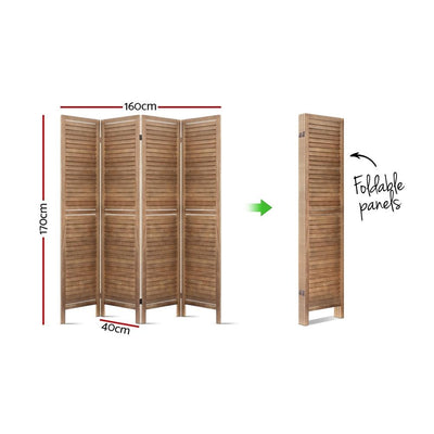 Artiss Room Divider Privacy Screen Foldable Partition Stand 4 Panel Brown | 360HomeWare