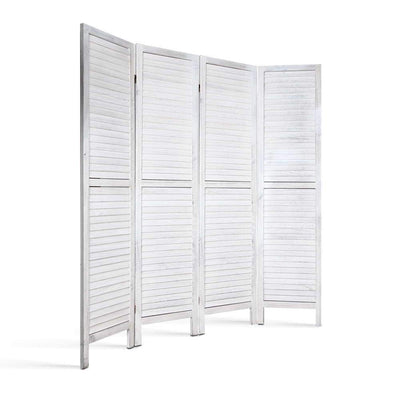 Artiss 4 Panel Foldable Wooden Room Divider - White | 360HomeWare