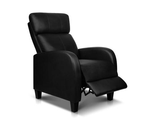 Artiss PU Leather Reclining Armchair - Black | 360HomeWare