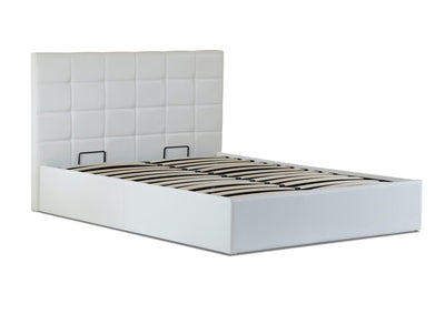 Roma PU Leather Gas Lift Bed Frame  - White | 360HomeWare
