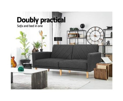1950mm 3 Seater Sofa Bed Recliner Lounge Couch Futon Dark Grey Fabric | 360HomeWare