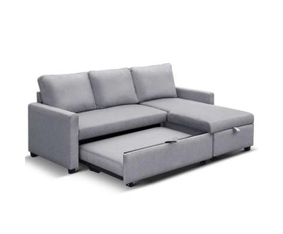 Artiss 3 Seater Fabric Sofa Bed with Storage - Grey | 360HomeWare