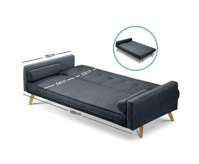 Artiss 3 Seater Fabric Sofa Bed - Charcoal | 360HomeWare