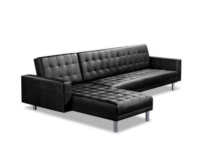 Artiss Modular PU Leather Sofa Bed - Black | 360HomeWare