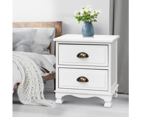 Artiss Vintage Bedside Tables - White | 360HomeWare