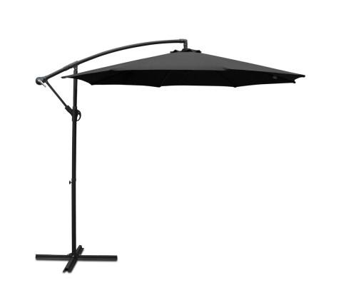 Instahut 3M Cantilevered Outdoor Umbrella - Black | 360HomeWare