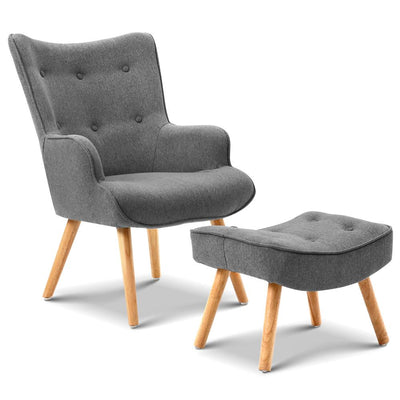 Artiss Armchair and Ottoman - Grey | 360HomeWare
