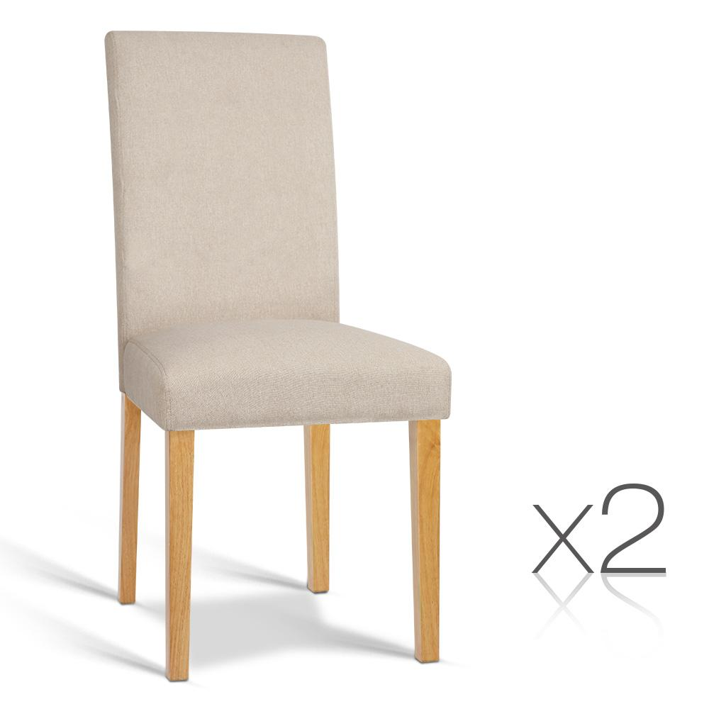 Artiss Set of 2 Fabric Dining Chair - Beige | 360HomeWare