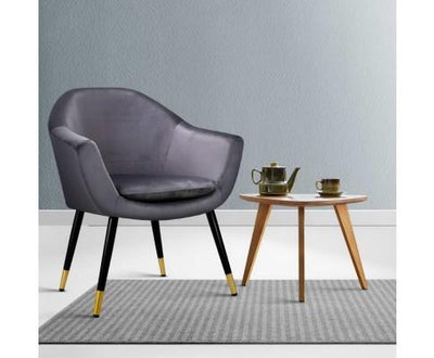 Artiss Velvet Armchair - Grey | 360HomeWare