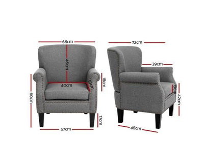 Artiss Retro Armchair - Grey | 360HomeWare