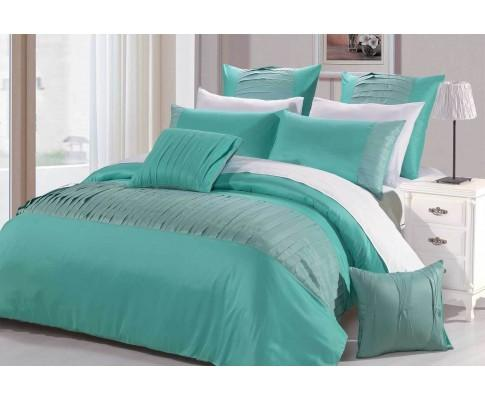 Turquoise Aqua Tuck Fold Fabric Quilt Cover Set | 360HomeWare