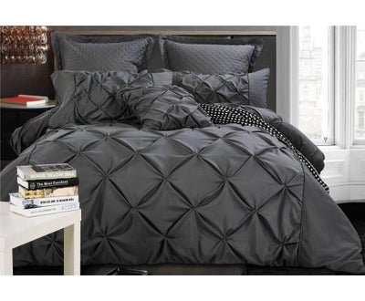 Charcoal Diamond Pintuck Quilt Cover Set(3PCS) | 360HomeWare