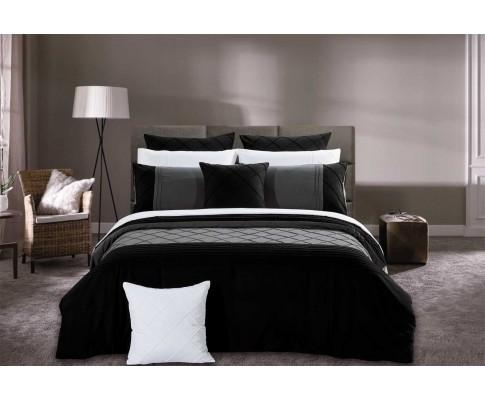 Black Diamond Pintuck Quilt Cover Set(3PCS) | 360HomeWare