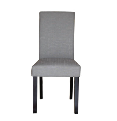 2 x Premium Fabric Linen Palermo Dining Chairs High Back - Light Slate Grey | 360HomeWare