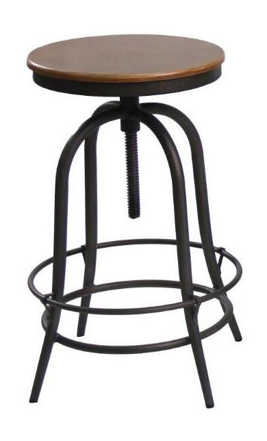 Round Adjustable Swivel Industrial Bar Stool | 360HomeWare