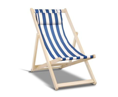 Foldable Beach Sling Chair - Blue & White | 360HomeWare