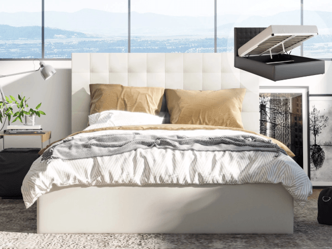 Charlotte Leather PU Gas Lift Leather Bed Frame - White | 360HomeWare