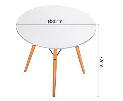 Artiss Round Wooden Dining Table - White | 360HomeWare