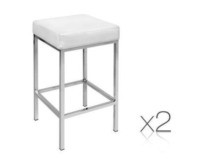 Set of 2 PU Leather Backless Bar Stools - White | 360HomeWare