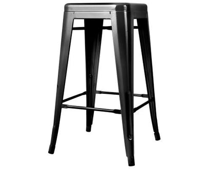 Set of 4 Metal Backless Bar Stools - Glossy Black | 360HomeWare