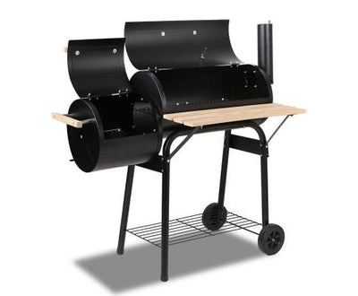 2-in-1 Offset BBQ Smoker - Black | 360HomeWare