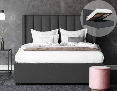 Cher Fabric Bed Frame  - Charcoal | 360HomeWare
