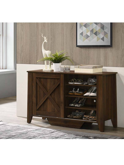 Industrial Shoe Cabinet - Dark Wood | 360HomeWare