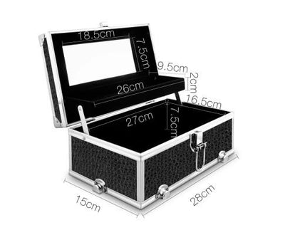 Portable Cosmetic Beauty Makeup Carry Case with Mirror - Crocodile Black | 360HomeWare