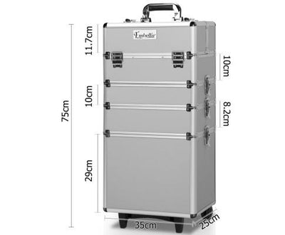 7 in 1 Portable Cosmetic Beauty Makeup Trolley - Silver | 360HomeWare