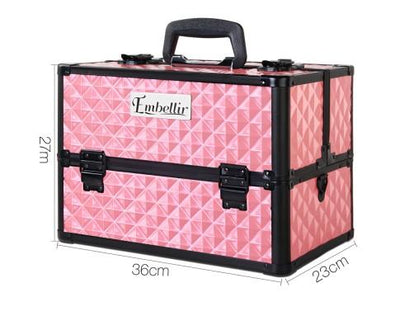 Portable Cosmetic Case with Mirror - Diamond Pink | 360HomeWare