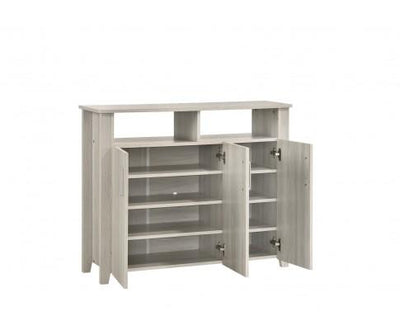 3 Door Large Shoe Cabinet With Shelf In White Oak | 360HomeWare