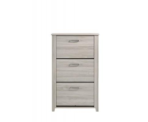 Shoe Cabinet With 3 Compartment Drawer In White Oak | 360HomeWare