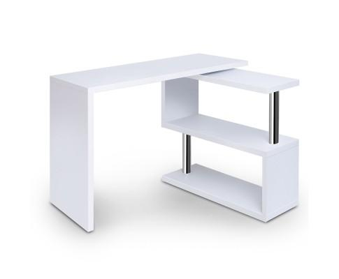 Rotary Corner Desk with Bookshelf - White | 360HomeWare