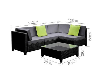 5 Piece PE Wicker Outdoor Sofa - Black & Grey | 360HomeWare