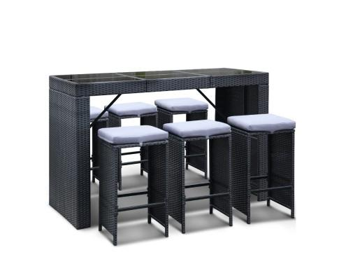 7 Piece Outdoor Dining Table Set - Black | 360HomeWare