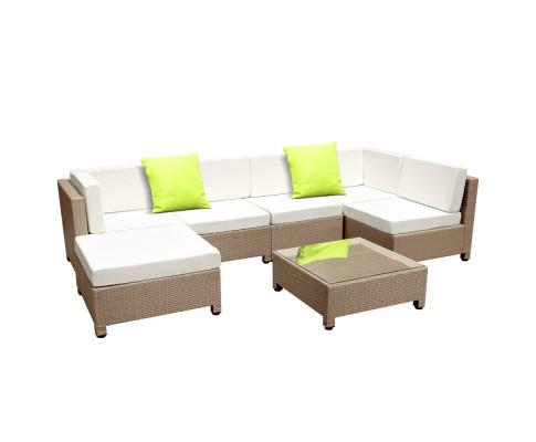 7 Piece PE Wicker Outdoor Furniture Set - Brown | 360HomeWare