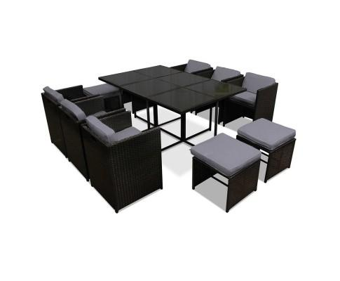 11 Piece PE Wicker Outdoor Dining Set - Black | 360HomeWare