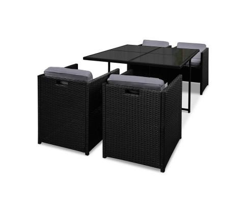5 Piece Wicker Outdoor Dining Set - Black | 360HomeWare