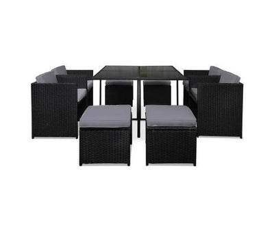 9 Piece Wicker Outdoor Dining Set - Black & Grey | 360HomeWare