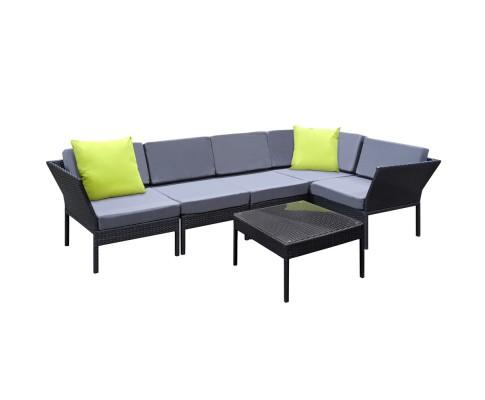 6 Piece Outdoor Wicker Sofa Miami Set - Black | 360HomeWare