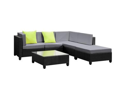 6 Piece Outdoor Wicker Sofa Monaco Set - Black | 360HomeWare
