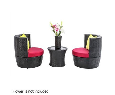 4 Piece PE Wicker Outdoor Set - Black | 360HomeWare
