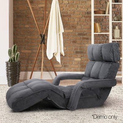 Artiss Adjustable Lounger with Arms - Charcoal | 360HomeWare