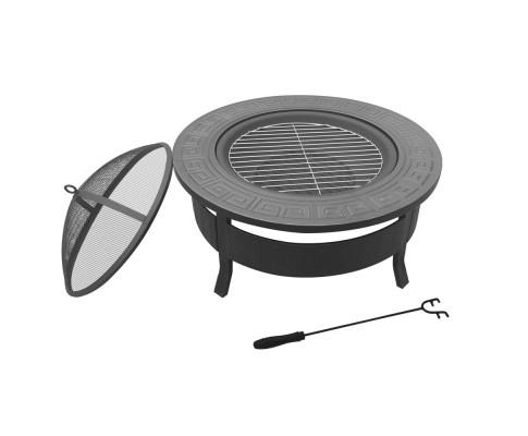 Round Outdoor Fire Pit BBQ Table Grill Fireplace | 360HomeWare