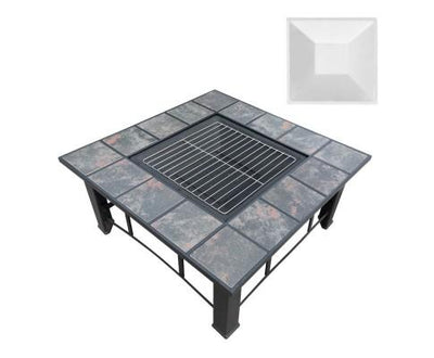 Outdoor Fire Pit BBQ Table Grill Fireplace Ice Bucket with Table Lid | 360HomeWare