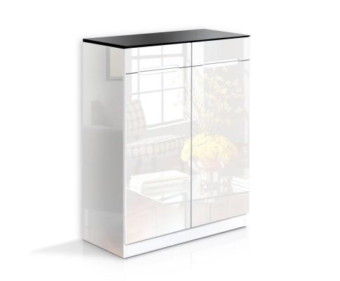 High Gloss Shoe Cabinet Rack- Black & White | 360HomeWare
